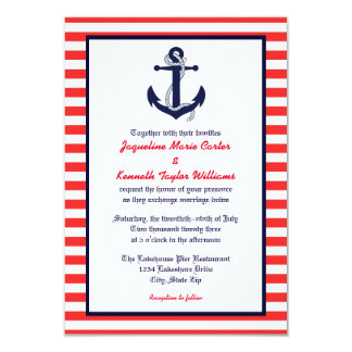 red white blue anchor 3x5 wedding invitation