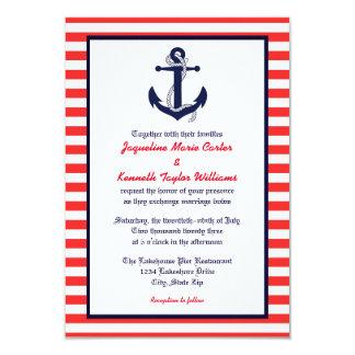 Red White U0026amp; Blue Anchor   3x5 Wedding Invitation
