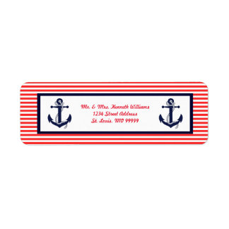Red White & Blue Anchor - Address Labels