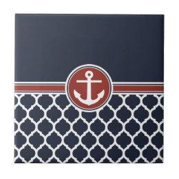Red White Blue Anchor Moroccan Lattice Ceramic Tile