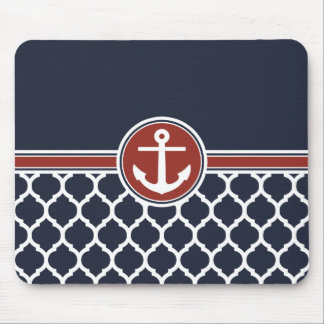 Red White Blue Anchor Moroccan Lattice Mouse Pad