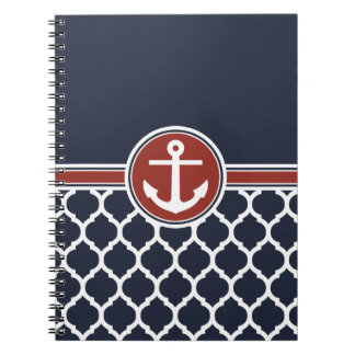 Red White Blue Anchor Moroccan Lattice Notebook