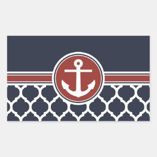 Red White Blue Anchor Moroccan Lattice Rectangular Sticker
