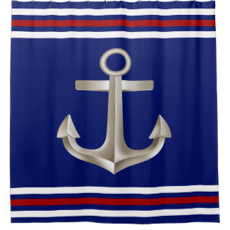 Red White Blue Anchor Shower Curtain