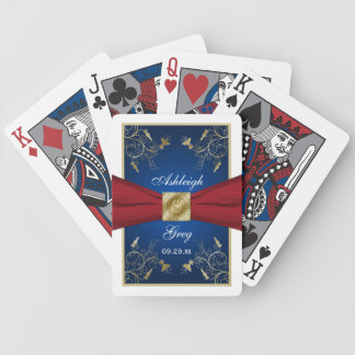 Red, White, Blue, and Gold Floral Playing Cards