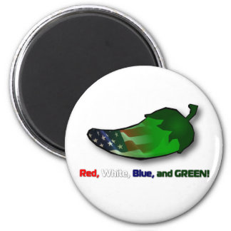 Red, White, Blue and Green 2 Inch Round Magnet