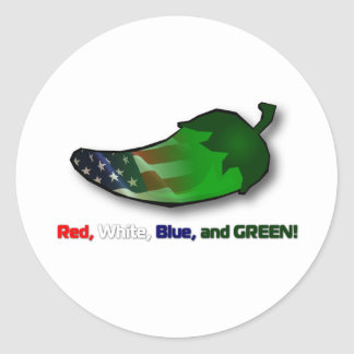 Red, White, Blue and Green Classic Round Sticker
