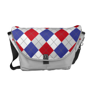 Red, White, Blue and Grey Argyle Pattern Bag Courier Bag
