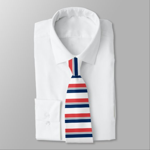 Red White Blue and Silver Horizontally-Striped Tie