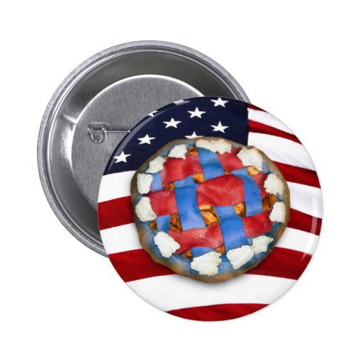Red White & Blue Apple Pie 2 Inch Round Button