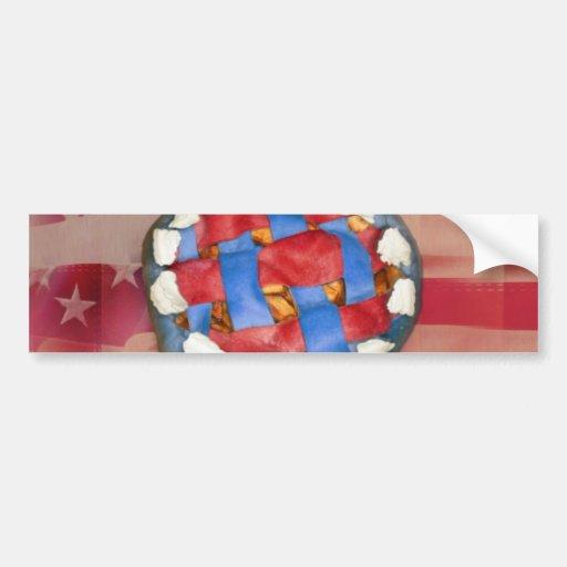 Red, White & Blue Apple Pie Car Bumper Sticker