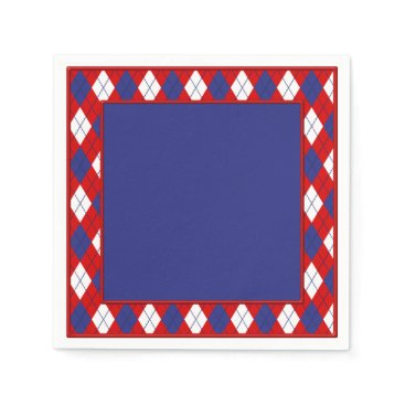 USA Themed Red, White, Blue  Argyle 1-PAPER PARTY NAPKINS B