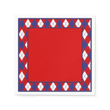 USA Themed Red, White, Blue  Argyle 1-PAPER PARTY NAPKINS R