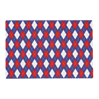 Red,White,Blue Argyle 2-PAPER PARTY PLACEMAT