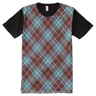 Red, White & Blue Argyle All-Over Print T-shirt