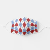 Red, White & Blue Argyle Cloth Face Mask