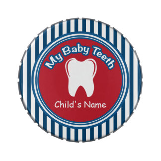 Red, White & Blue Baby Tooth Fairy Tin Candy Tin