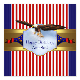 Red White Blue Bald Eagle Patriotic 4th of July Card