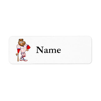 Red white blue baseball guy label
