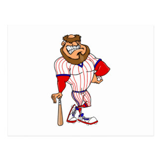 Red white blue baseball guy postcard