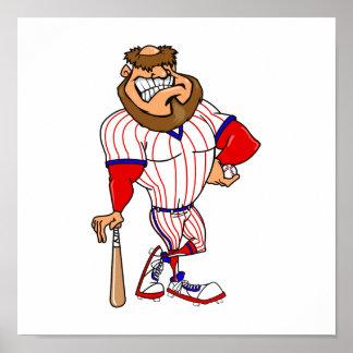 Red white blue baseball guy print