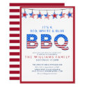 Red White & Blue BBQ 4th of July Independence Day Invitation