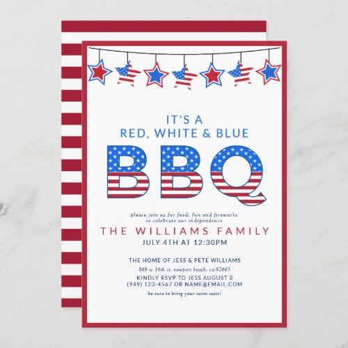 Red White  Blue BBQ 4th of July Independence Day Invitation