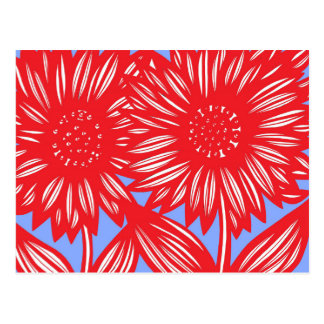 Red White Blue Big Flowers Postcard