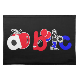 Red,White,Blue & Black,ABC Alphabet Logo Cloth Placemat