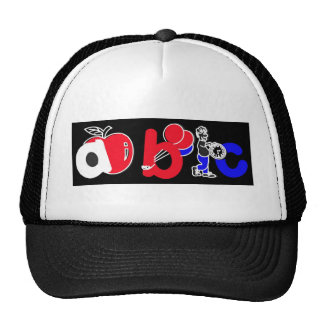 Red,White,Blue & Black,ABC Alphabet Logo Trucker Hat