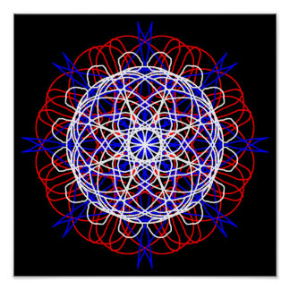 Red White Blue Black Abstract Art Kaleidoscope Poster