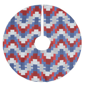 Red White Blue Block Pattern Brushed Polyester Tree Skirt