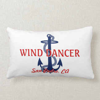 Red White Blue Boat Name with Anchor Lumbar Pillow