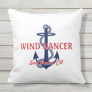 Red White Blue Boat Name with Anchor Square Pillow Throw Pillow