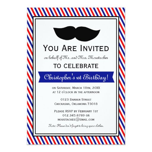 Red White Blue Boy Moustache Birthday Party 5x7 Paper Invitation Card