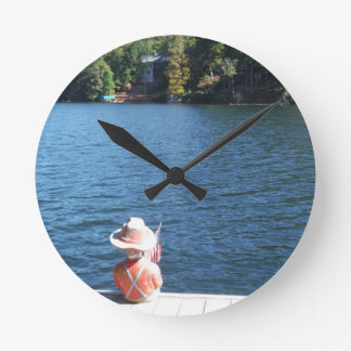 Red, White ,Blue: Boy Sitting on Dock with Flag Round Clock