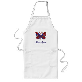 Red White Blue Butterfly-Apron Long Apron