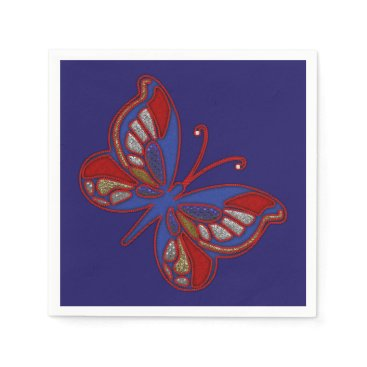 USA Themed Red White Blue Butterfly-Blue Cocktail Napkins