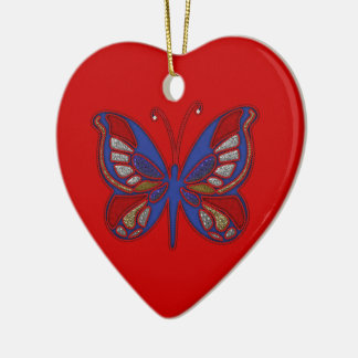 Red White Blue Butterfly-Heart Ornament