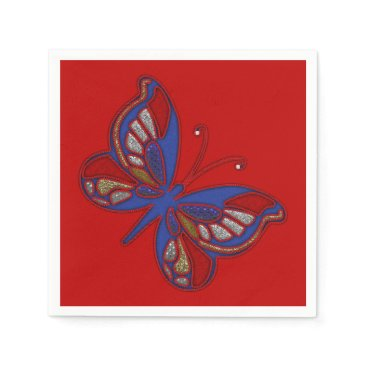 USA Themed Red White Blue Butterfly-Red Cocktail Napkins