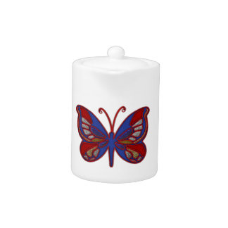 Red White Blue Butterfly-Tea Pot Teapot