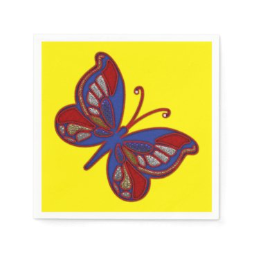 USA Themed Red White Blue Butterfly-Yellow Cocktail Napkins