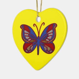 Red White Blue Butterfly-Yellow Heart Ornament
