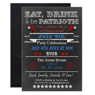 Red White Blue Chalkboard July 4th party Invites