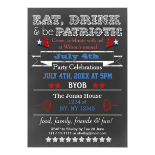 Red White Blue Chalkboard July 4th Party Invites at Zazzle