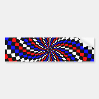Red White Blue Checker Spiral Bumper Sticker
