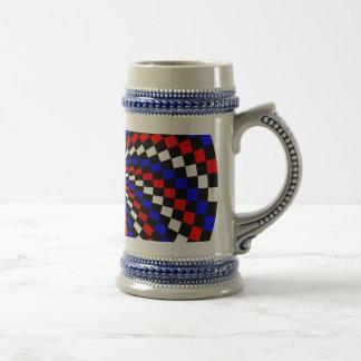 Red White Blue Checker Spiral by Kenneth Yoncich Beer Stein