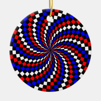 Red White Blue Checker Spiral by Kenneth Yoncich Ceramic Ornament