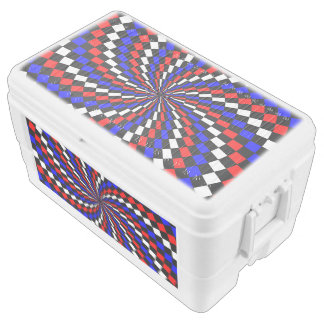 Red White Blue Checker Spiral by Kenneth Yoncich Chest Cooler