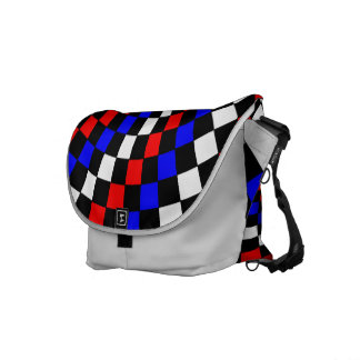 Red White Blue Checker Spiral by Kenneth Yoncich Messenger Bag